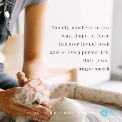 """Nobody, nowhere, in any way shape, or form, has ever (EVER) been able to live a perfect life. Until Jesus."" - Angie Smith #SeamlessBibleStudy 