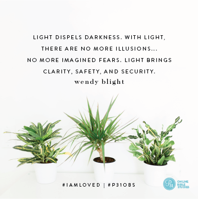 """Light dispels darkness. With light, there are no more illusions...no more imagined fears. Light brings clarity, safety, and security."" - Wendy Blight #IAmLoved 