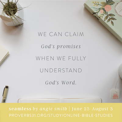 "The next Proverbs 31 Online Bible study is ""Seamless"" by Angie Smith! Study starts June 25th. Learn more and sign up here --> http://www.proverbs31.org/online-bible-studies/ #Seamless #P31OBS"