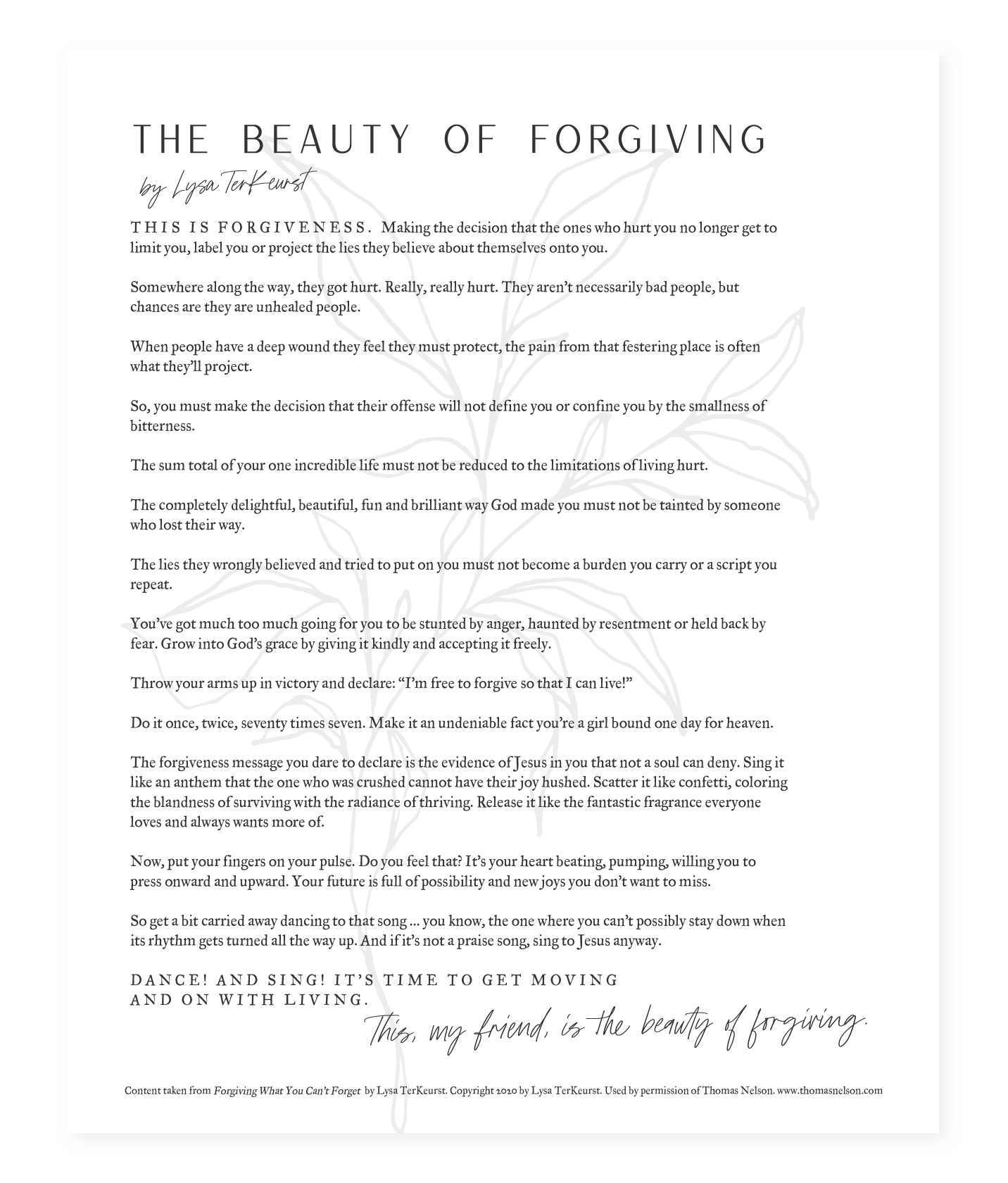 The Beauty of Forgiving Image